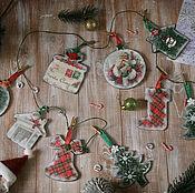 Для дома и интерьера handmade. Livemaster - original item Christmas garland Christmas Town decoupage. Handmade.