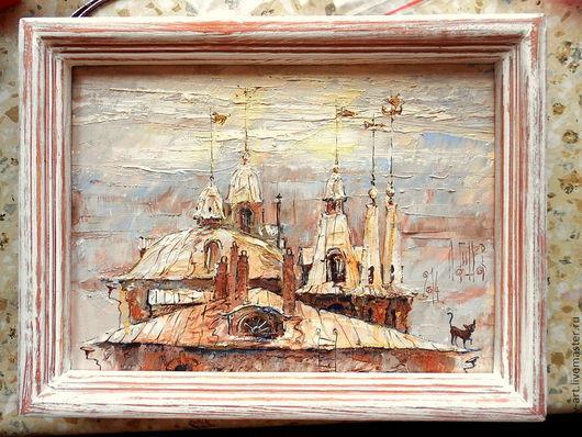 """Город ручной работы. Ярмарка Мастеров - ручная работа. Купить """"Дождик прошел"""". Handmade. Город, дождь, картина в детскую"""