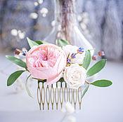 Гребень в прическу с нежными розами и лавандой