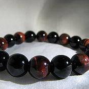 Украшения handmade. Livemaster - original item Black agate and bull`s eye bracelet