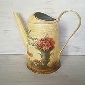 Цветы и флористика handmade. Livemaster - original item heads: Watering can with decoupage. Vintage.. Handmade.