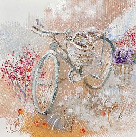 Пейзаж ручной работы. Ярмарка Мастеров - ручная работа. Купить Snow Bicycle. Handmade. Картина на холсте, интерьерная картина