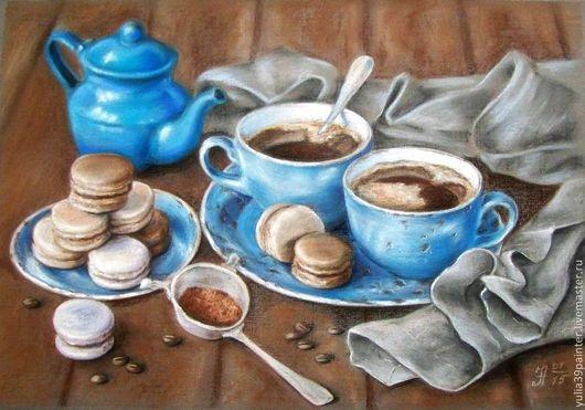 Натюрморт ручной работы. Ярмарка Мастеров - ручная работа. Купить Вечерний кофе. Handmade. Голубой, сладости