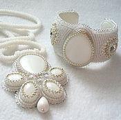 Украшения handmade. Livemaster - original item Set natural white agate in silver