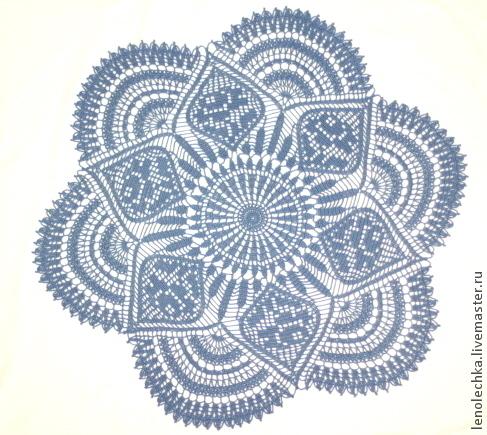 Текстиль, ковры ручной работы. Ярмарка Мастеров - ручная работа. Купить Салфетка с розами. Handmade. Синий, круглая салфетка