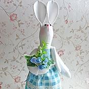 Куклы и игрушки ручной работы. Ярмарка Мастеров - ручная работа Зайка с голубыми цветами.. Handmade.
