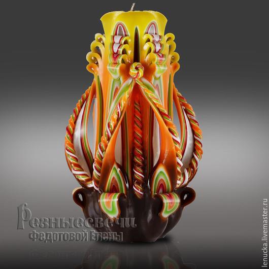 Резная свеча ручной работы Королева высота 17-18 см, выполнена в цвете Осенняя. Резные свечи. Свечи резные. Свечи интерьерные.Интерьерные свечи.