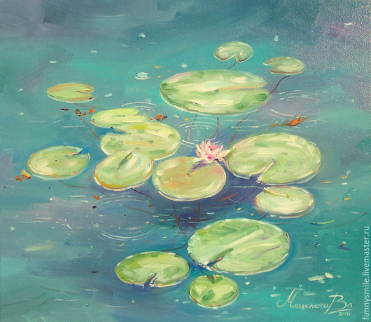 Пейзаж ручной работы. Ярмарка Мастеров - ручная работа. Купить Картина маслом на холсте  Изумрудный пруд с кувшинками. Лилии Пруд. Handmade.