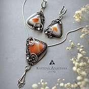 """Украшения ручной работы. Ярмарка Мастеров - ручная работа Комплект wire wrap """"Romantic"""" из серебра. Handmade."""