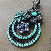 Материалы для творчества handmade. Livemaster - original item Pendant pendant art. 7-61 round with crystals. Made In Italy. Handmade.