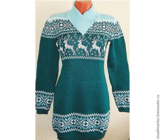 Кофты и свитера ручной работы. Ярмарка Мастеров - ручная работа. Купить Платье - свитер с норвежским орнаментом Изумруд. Handmade.
