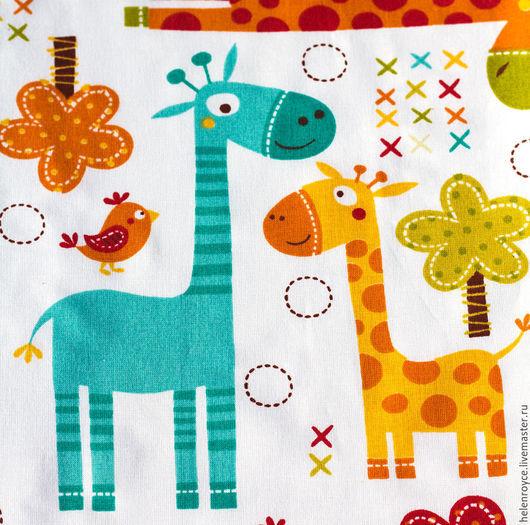 Шитье ручной работы. Ярмарка Мастеров - ручная работа. Купить Ткань Хлопок Жирафы. Handmade. Хлопок, ткань, ткань для кукол