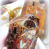 Украшения handmade. Livemaster - original item Pendant painted stone Kiss Klimt lacquer miniature gold orange. Handmade.