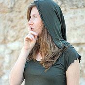 """Одежда ручной работы. Ярмарка Мастеров - ручная работа Топ """"Самария"""" трикотажный темно зеленый с капюшоном. Handmade."""