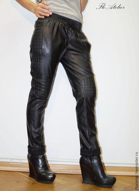 Брюки, шорты ручной работы. Ярмарка Мастеров - ручная работа. Купить Эластичные брюки из кожи/Модные штаны из эко кожи/F1340. Handmade.
