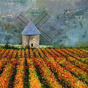 Картины и панно handmade. Livemaster - original item Oil painting on canvas. Burgundy vineyards. Handmade.