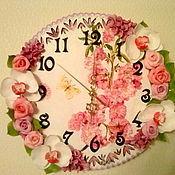 Для дома и интерьера ручной работы. Ярмарка Мастеров - ручная работа настенные часы с цветами в технике декупаж. Handmade.