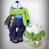 Куклы и игрушки ручной работы. Ярмарка Мастеров - ручная работа Зайка с букетом тюльпанов. Handmade.