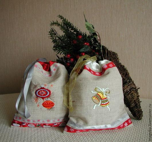 Праздничная атрибутика ручной работы. Ярмарка Мастеров - ручная работа. Купить Новогодний мешок для подарков. Handmade. Праздничная упаковка, шелк
