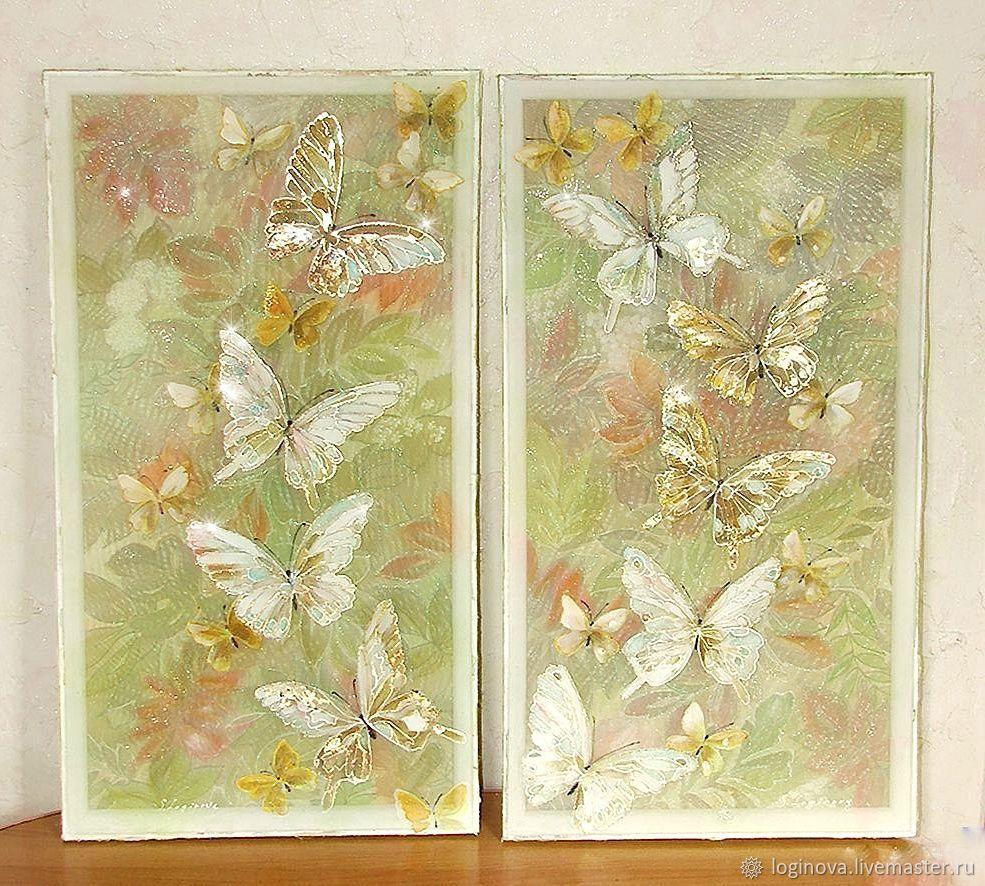 БАБОЧКИ картина на шелке, картина с бабочками, Картины, Находка,  Фото №1