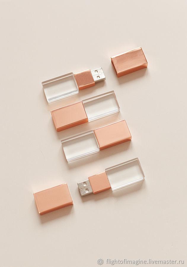 16Гб Флешки стекло-розове золото USB 2.0, Фото, Екатеринбург,  Фото №1