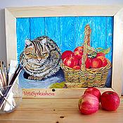 Картины и панно handmade. Livemaster - original item Cat with apples oil painting. Handmade.