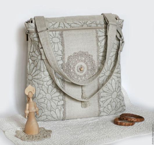 Льняная сумка с ромашками, сумка ручной работы  в подарок, оригинальная льняная сумка с кружевом, сумка женская, сумки и рюкзаки ручной работы, автор Юлия Льняная сказка