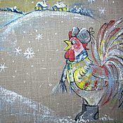 Для дома и интерьера handmade. Livemaster - original item Cock in boots and a fur hat... Napkin Christmas painted.. Handmade.