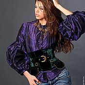 """Одежда ручной работы. Ярмарка Мастеров - ручная работа Блузка """"Мистик"""" фиолетовая шелковая. Handmade."""