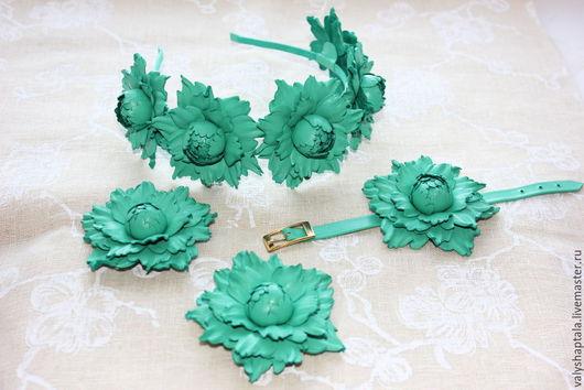 Комплекты украшений ручной работы. Ярмарка Мастеров - ручная работа. Купить комплект из мятно-зеленой кожи. Handmade. Мятный