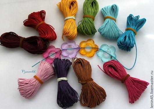 Для украшений ручной работы. Ярмарка Мастеров - ручная работа. Купить Вощеный шнур 14 цветов. Handmade. Шнур вощенный