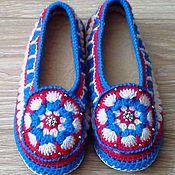 Обувь ручной работы handmade. Livemaster - original item March 8 Rosynka Knitted Slippers leather sole. Handmade.