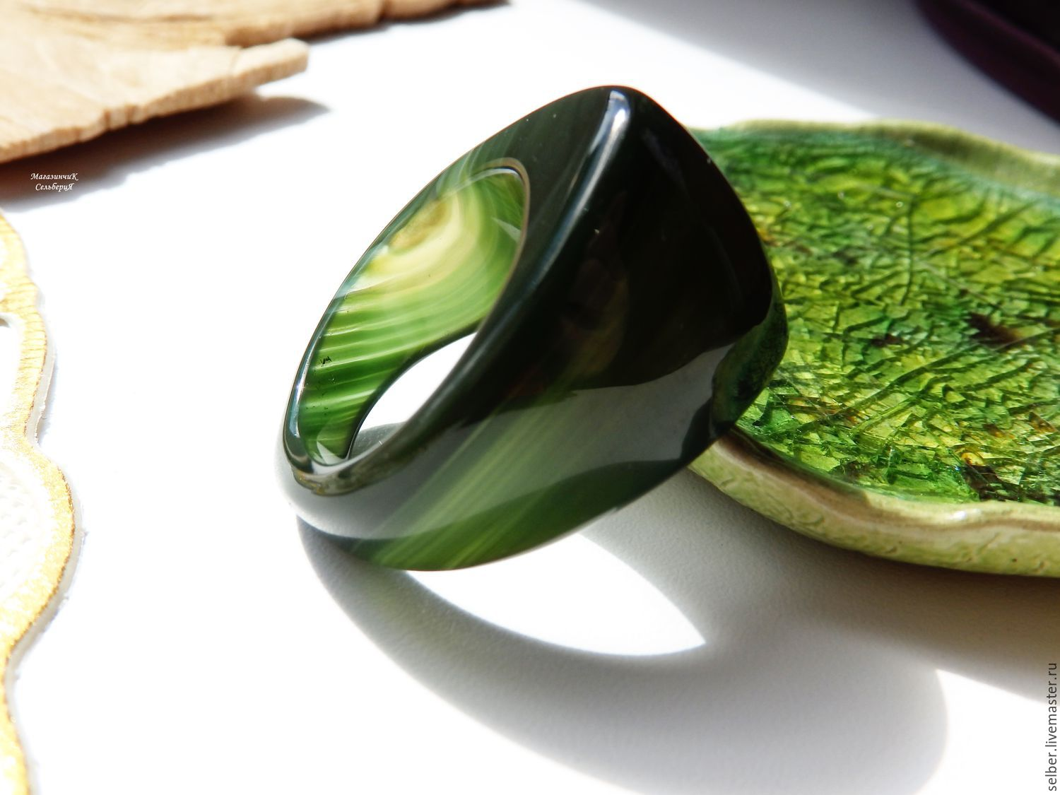 A ring of green chalcedony Marsh grass 19.5 R-R, Ring, Gatchina,  Фото №1