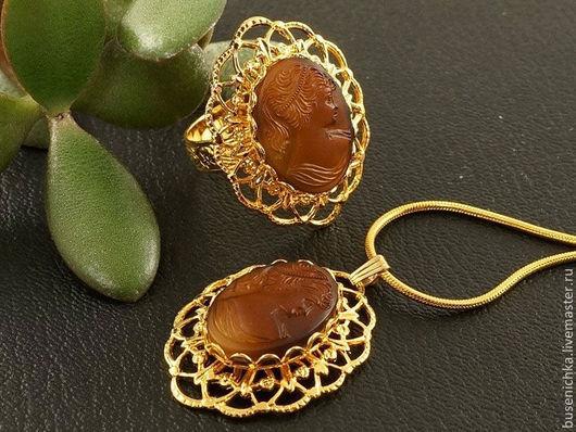 Комплекты украшений ручной работы. Ярмарка Мастеров - ручная работа. Купить Комплект из камей (подвеска + кольцо) Шоколад Gold. Handmade.