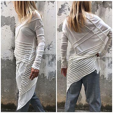Одежда ручной работы. Ярмарка Мастеров - ручная работа Экстравагантная туника / блуза из итальянского тонкого трикотажа. Handmade.