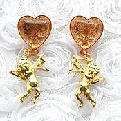 handmade. Livemaster - original item Cupid earrings,Ritzy Couture, USA, heart, Cupid, gift favorite, love. Handmade.