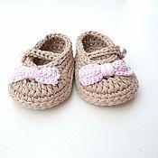Работы для детей, handmade. Livemaster - original item booties-shoes for girls black with pink bow. Handmade.