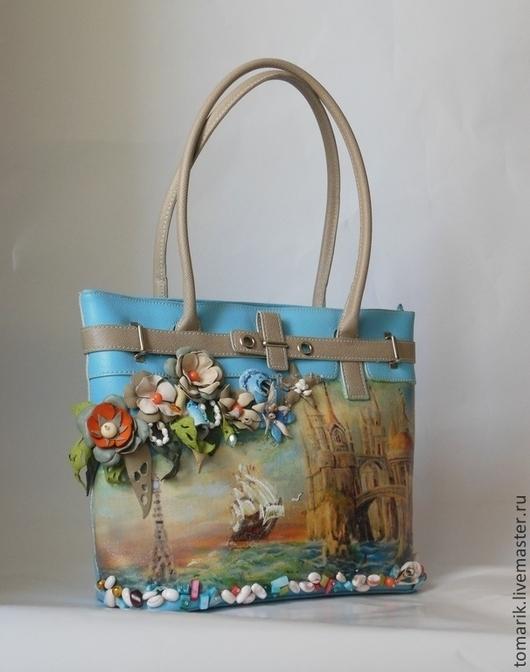 голубая сумка на лето, стильный аксессуар