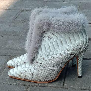 Обувь ручной работы. Ярмарка Мастеров - ручная работа Ботильоны из питона с норкой. Handmade.