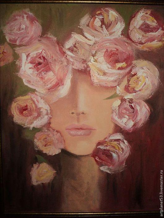 Люди, ручной работы. Ярмарка Мастеров - ручная работа. Купить Девушка в розах. Handmade. Девушка, подарок на любой случай, масло