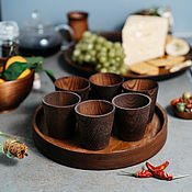 Посуда handmade. Livemaster - original item Tray Set of Wooden glasses (6#32. Handmade.