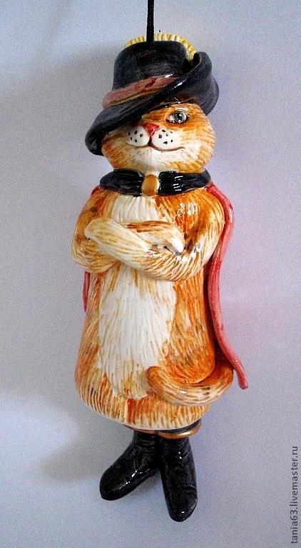 """Колокольчики ручной работы. Ярмарка Мастеров - ручная работа. Купить Колокольчик  """"Кот в сапогах"""". Handmade. Рыжий, кот в сапогах, коты"""