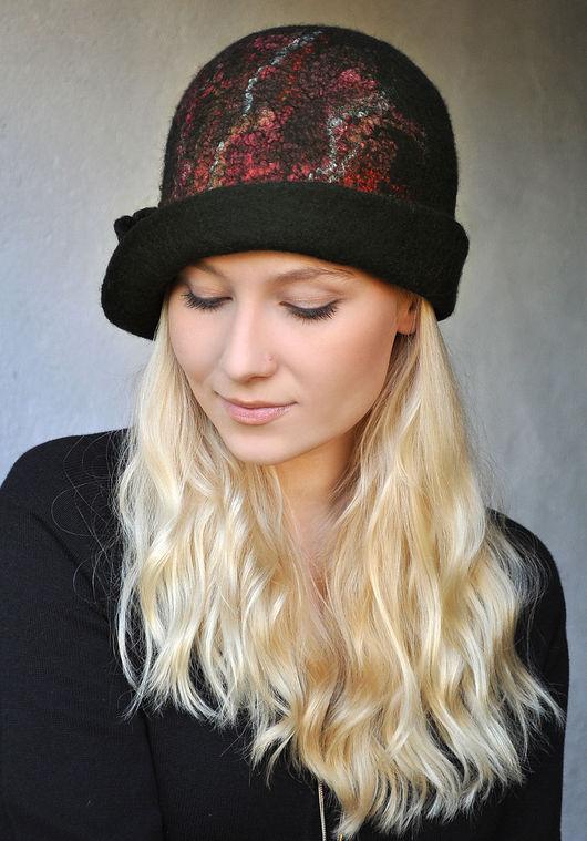 """Шляпы ручной работы. Ярмарка Мастеров - ручная работа. Купить Шляпа """"Ночные мотыльки"""". Валяная, шерстяная.. Handmade. Шапка"""