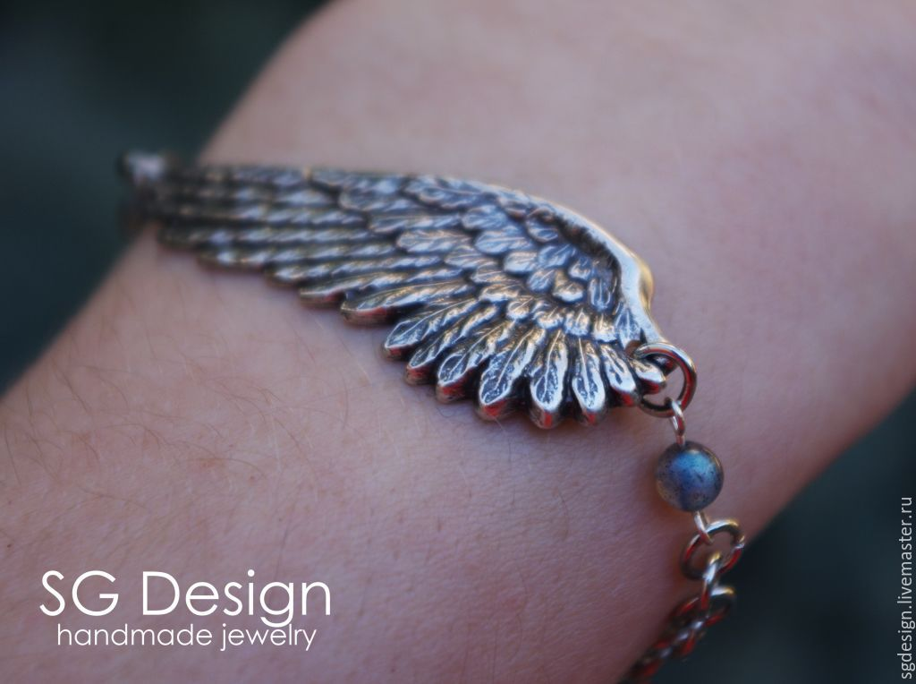 "Silver plated Bracelet ""Unis"" Labradorite, Wings, Bead bracelet, Yalta,  Фото №1"