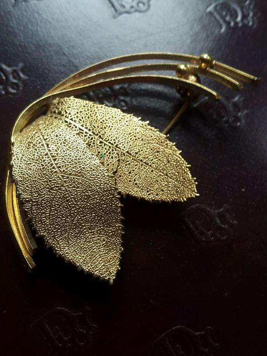 Винтажные украшения. Ярмарка Мастеров - ручная работа. Купить брошь золотые листики паутинки винтаж япония. Handmade. паутинка