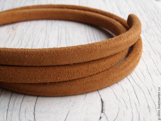 Для украшений ручной работы. Ярмарка Мастеров - ручная работа. Купить Шнур кожаный для regaliz (регализ) 10х6мм замшевый коричневый. Handmade.