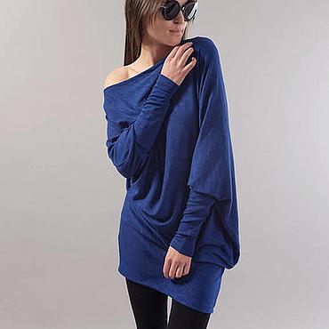 Одежда ручной работы. Ярмарка Мастеров - ручная работа Синяя блузка / F1746. Handmade.