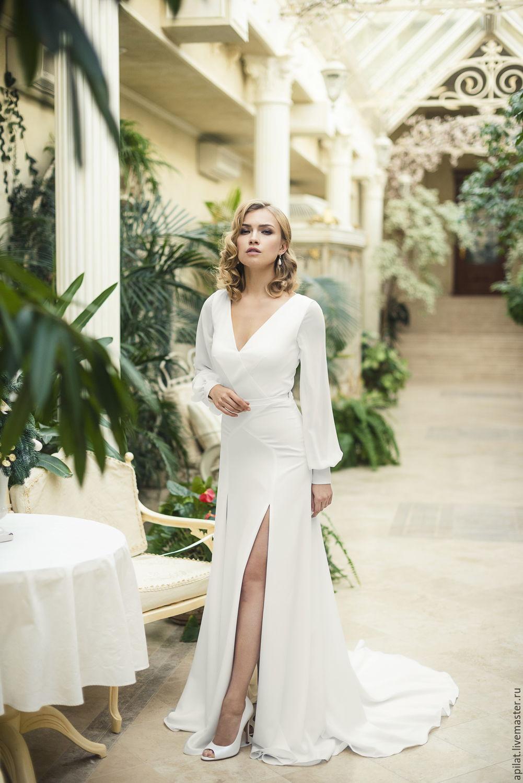 Ivory Crepe Open Back Wedding Dress and Handmade Embellishments, Wedding dresses, Kiev,  Фото №1