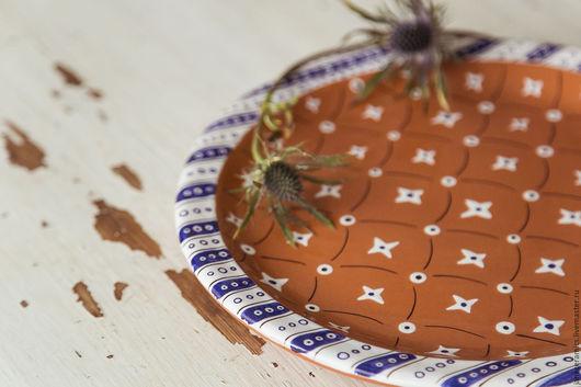 Тарелки ручной работы. Ярмарка Мастеров - ручная работа. Купить Морские сокровища... Блюдо сервировочное, керамика. Handmade. Керамика, орнамент