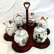 Винтаж ручной работы. Ярмарка Мастеров - ручная работа Винтажный набор баночек для джема, варенья или мармелада на подставке. Handmade.